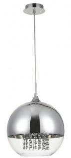 Casa Padrino Hängeleuchte Silber Ø 30 x H. 28 cm - Hängelampe mit rundem Lampenschirm und feinsten Kristall Behängen