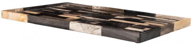 Casa Padrino Luxus Tablett Mehrfarbig 40 x 25 x H. 2 cm - Serviertablett aus versteinertem Holz