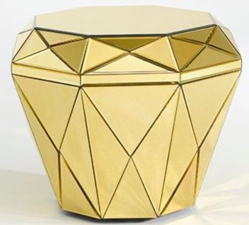 Casa Padrino Luxus Spiegelglas Beistelltisch / Hocker Gold 55 x 55 x H. 45 cm - Designermöbel