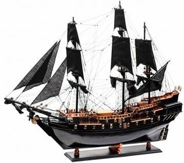 Casa Padrino Luxus Piratenschiff Black Pearl mit Massivholz Ständer Schwarz / Braun 85 x 28 x H. 90 cm - Handgefertigtes Deko Schiff Holzschiff Segelschiff Flaggschiff - Deko Accessoires