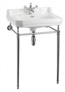 Casa Padrino Jugendstil Stand Waschtisch Weiß / Chrom B 61cm Mod5 - Art Deco Waschbecken Barock Antik Stil