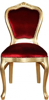 Casa Padrino Barock Luxus Damen Stuhl Bordeaux / Gold - Damen Schminktisch Stuhl - Limited Edition