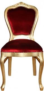 Casa Padrino Barock Luxus Esszimmer Stuhl Bordeaux / Gold - Möbel