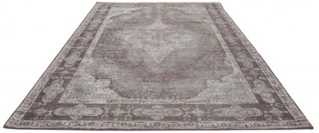 Casa Padrino Vintage Wohnzimmer Teppich Hellgrau 160 x 240 cm - Rechteckiger Baumwoll Teppich - Wohnzimmer Deko Accessoires
