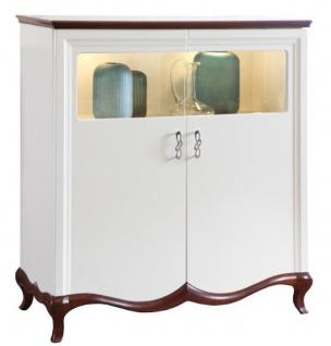 Casa Padrino Luxus Art Deco Barschrank Weiß / Dunkelbraun 114 x 46, 5 x H. 123 cm - Beleuchteter Wohnzimmerschrank mit 2 Türen