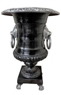 Casa Padrino Antik Stil Vase Lion Aluminium / Schwarz - Pflanzentopf - Hotel Dekoration - Barock Blumengefäss