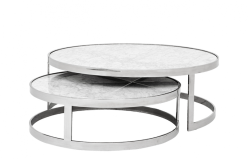 Casa Padrino Luxus Art Deco Designer Couchtisch 2er Set - Wohnzimmer Salon Tisch - Limited Edition