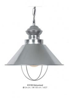 Casa Padrino Hängeleuchte Deckenleuchte Verzinkt Industrial Design 34 cm Durchmesser - Industrie Lampe Leuchte Industrieleuchte