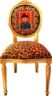 Casa Padrino Barock Medaillon Luxus Esszimmer Stuhl Leopard / Gold Napoleon - Luxs Kollektion