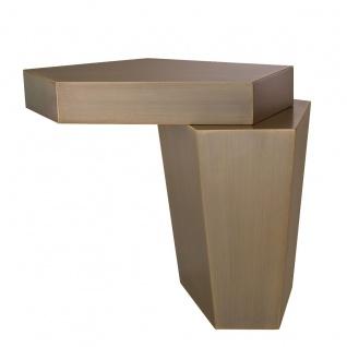 Casa Padrino Designer Couchtisch Messingfarben 72 x 50 x H. 60 cm - Metall Wohnzimmertisch mit gebürsteter Messing Oberfläche und Zementfüllung - Luxus Qualität