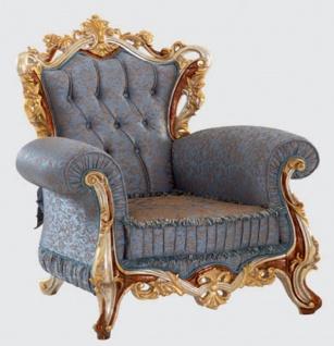 Casa Padrino Luxus Barock Wohnzimmer Set Blau / Kupfer / Silber / Braun / Gold - 2 Sofas & 2 Sessel & 1 Couchtisch - Handgefertigte Wohnzimmer Möbel im Barockstil - Edel & Prunkvoll - Vorschau 4