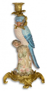 Casa Padrino Jugendstil Messing Kerzenständer mit Porzellan Papagei Mehrfarbig / Gold 15, 9 x 15, 3 x H. 36, 3 cm - Deko Kerzenhalter