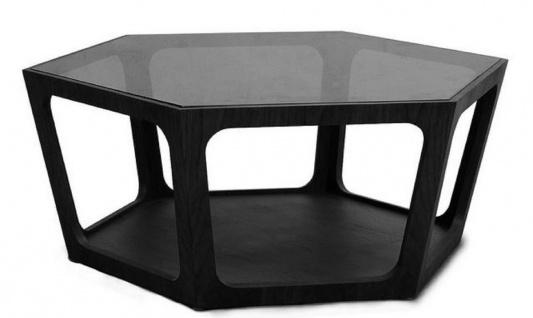 Casa Padrino Luxus Couchtisch Schwarz 90 x 78 x H. 35 cm - Wohnzimmertisch mit schwarz getönter Glasplatte - Wohnzimmer Möbel - Luxus Möbel
