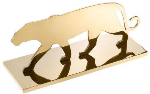 Casa Padrino Luxus Edelstahl Dekofigur Panther Silhouette Messingfarben 36 x 12, 5 x H. 15 cm - Luxus Dekoration - Vorschau 2