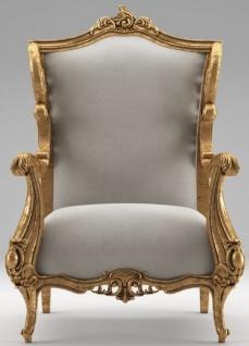 Casa Padrino Luxus Barock Ohrensessel Grau / Antik Gold 85 x 80 x H. 113 cm - Wohnzimmer Samt Sessel - Edel & Prunkvoll