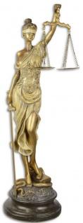 Casa Padrino Dekofigur Justitia Antik Gold / Antik Schwarz 16, 2 x 15 x H. 52, 5 cm - Polyresin Deko Skulptur auf Sockel