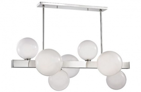 Casa Padrino Luxus LED Hängeleuchte Silber / Weiß 110, 5 x 54 x H. 47 cm - Luxus Kollektion