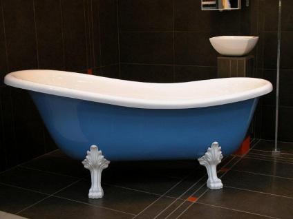 Freistehende Luxus Badewanne Jugendstil Roma Hellblau/Weiß/Weiß 1470mm - Barock Antik Stil Badezimmer - Vorschau 3