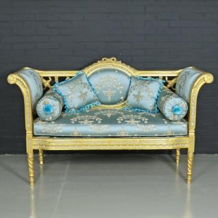 Casa Padrino Barock Sitzbank Helltürkis Muster / Gold 90 x 50 x H. 70 cm - Antikstil Sitzbank