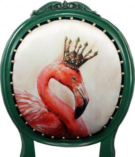 Casa Padrino Barock Luxus Esszimmer Stuhl ohne Armlehnen Flamingo mit Krone mit Bling Bling Glitzersteinen - Designer Stuhl - Limited Edition - Vorschau 3