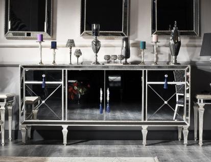 Casa Padrino Luxus Barock Kommode mit Spiegelglas Silber / Gold 205 x 55 x H. 100 cm - Verspiegelter Wohnzimmerschrank - Luxus Qualität