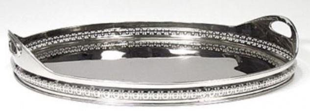 Casa Padrino Luxus Serviertablett Silber 44 x 30 x H. 11 cm - Ovales Messing Tablett mit 2 Tragegriffen