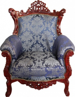 Casa Padrino Barock Sessel Al Capone Mod2 Royalblau Muster / Braun Rot - Wohnzimmer Möbel Antik Stil