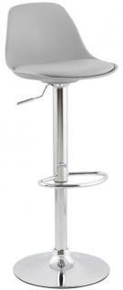 Casa Padrino Barstuhl Grau / Silber H. 81-104 cm - Moderner höhenverstellbarer Barhocker mit hochwertigem Kunstleder - Barmöbel