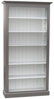 Casa Padrino Landhausstil Bücherschrank Grau / Weiß 109 x 39 x H. 210 cm - Wohnzimmermöbel im Landhausstil