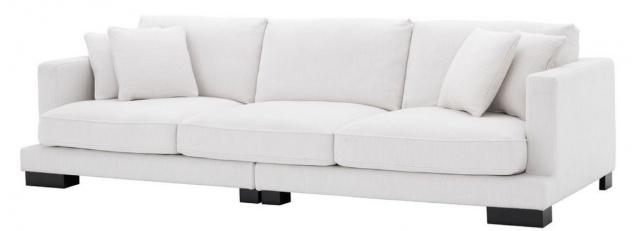 Casa Padrino Luxus Wohnzimmer Sofa mit Kissen Weiß / Schwarz 284 x 110 x H. 85 cm - Wohnzimmer Möbel - Luxus Kollektion