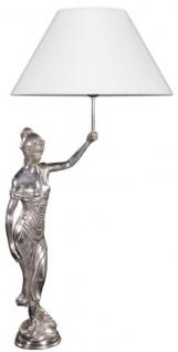 Casa Padrino Tischleuchte mit Bronzefigur Justitia Silber / Weiß 55 x 48 x H. 105 cm - Hotel & Restaurant Tischlampe