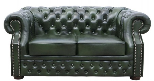 Casa Padrino Luxus Echtleder 2er Sofa Dunkelgrün 180 x 90 x H. 80 cm - Chesterfield Möbel