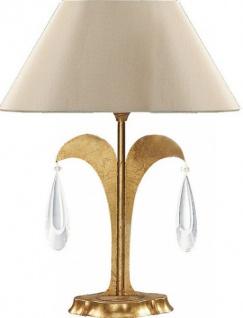 Casa Padrino Luxus Barock Tischleuchte Gold mit Glaskristallen - vergoldete Tisch Lampe - Handgefertigt in Italien