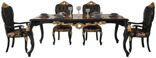 Casa Padrino Luxus Barock Esszimmer Set Braun / Schwarz / Gold - 1 Esstisch mit Tischplatte in Marmoroptik & 6 Esszimmerstühle - Prunkvolle Esszimmer Möbel im Barockstil