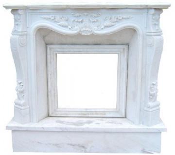 Casa Padrino Luxus Barock Kaminumrandung Weiß 150 x 30 x H. 120 cm - Handgefertigte Kaminumrandung aus hochwertigem Marmor - Prunkvolle Barock Möbel