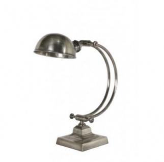 Casa Padrino Tischleuchte Antik Silber 20 x 20 x H 43 cm - Leuchte - Schreibtischleuchte - Büroleuchte