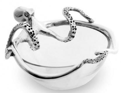 Casa Padrino Schüssel Octopus Silber 16 x 17 x H. 11 cm - Glas Schüssel mit dekorativer Aluminium Figur - Deko Accessoires