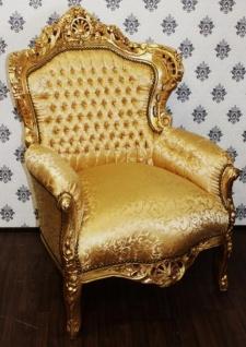 Barock Sessel King Gold Muster / Gold - Möbel Antik Stil