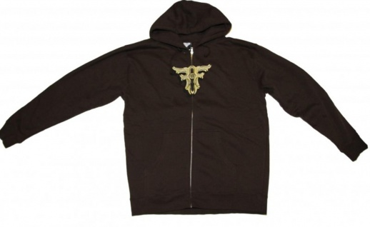 Fallen Skateboard Pullover Zip Hoodie Brown Sweater