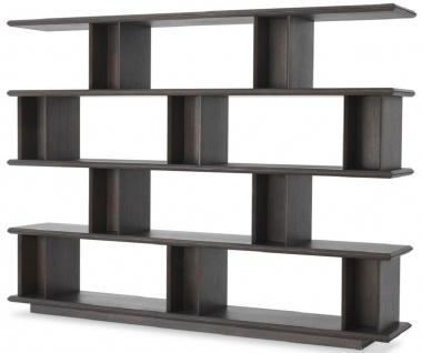 Casa Padrino Luxus Massivholz Regalschrank Mokkafarben 230 x 40 x H. 170 cm - Eichenfurnier Schrank - Bücherschrank - Luxus Wohnzimmer Möbel
