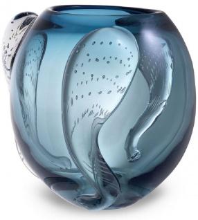 Casa Padrino Luxus Deko Glas Vase Blau Ø 32 x H. 28 cm - Elegante mundgeblasene Blumenvase - Luxus Deko Accessoires