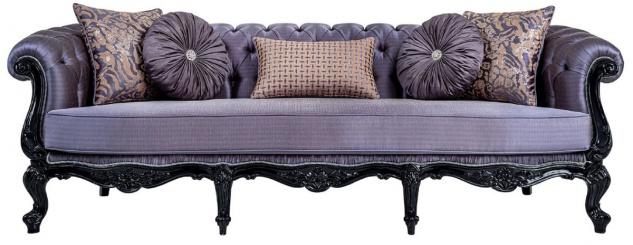 Casa Padrino Luxus Barock Sofa Lila / Schwarz - Handgefertigtes Wohnzimmer Sofa mit dekorativen Kissen - Barock Wohnzimmer Möbel