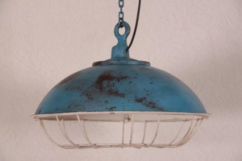 Casa Padrino Hängeleuchte Deckenleuchte Antik Stil Blau Industrial Vintage Design 45cm Durchmesser - Industrie Lampe Hänge Leuchte