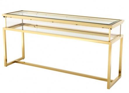 Casa Padrino Luxus Glas Vitrine Edelstahl Gold B 160 x T 45 x H 77 cm Konsole Ladeneinrichtung - Art Deco Möbel - Vorschau 2