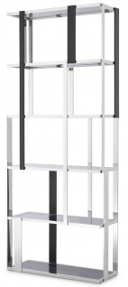 Casa Padrino Luxus Regalschrank Silber / Schwarz / Grau 100 x 37 x H. 240, 5 cm - Edelstahl Schrank - Wohnzimmerschrank - Büroschrank - Luxus Möbel