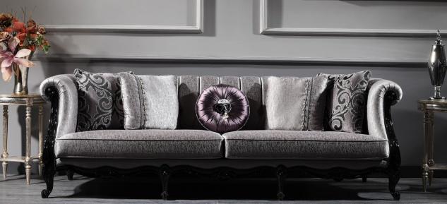 Casa Padrino Luxus Barock Wohnzimmer Sofa Silber / Schwarz 256 x 90 x H. 84 cm - Edle Barock Möbel