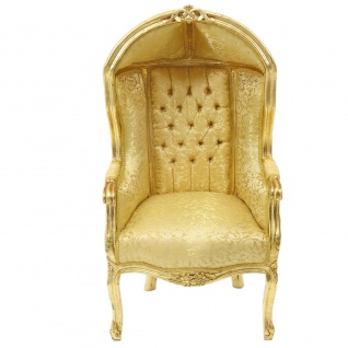 Casa Padrino Barock Kinder Thron Sessel Gold Muster /Gold - Ballon Sessel Barock Möbel