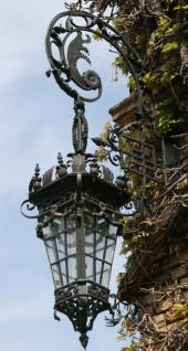 Casa Padrino Barock Außenwandleuchte mit Halterung Schwarz 47 x 47 x H. 120 cm - Handgefertigte Prunkvolle Außenbeleuchtung
