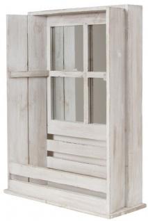 Casa Padrino Landhausstil Shabby Chic Wandhängeschrank Antik Weiß 44 x 17 x H. 59 cm - Handgefertigter Hängeschrank mit Spiegel