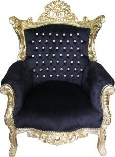 Casa Padrino Barock Sessel Al Capone Schwarz / Gold mit Bling Bling Glitzersteinen - Limited Edition